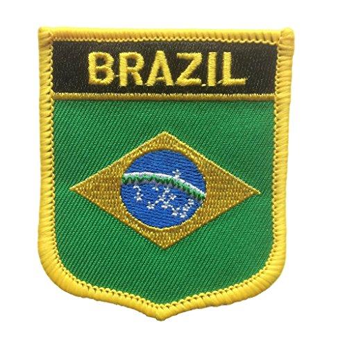 Brazil Flag Shield Travel Patch/International Iron On Badge (Brazilian Crest, 2.75