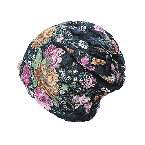 DIOMOR Women India Muslim Stretch Turban Hat Lace Hair Print Loss Head Scarf Wrap Valentine's Day Present Gift Black