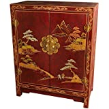 Oriental Furniture Red Lacquer Cabinet