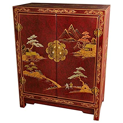 Amazon Com Oriental Furniture Red Lacquer Cabinet Kitchen Dining