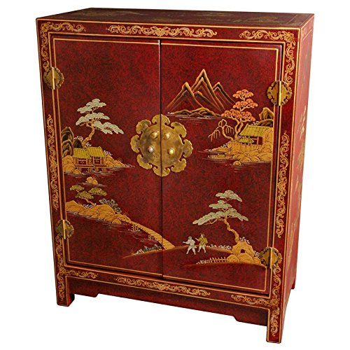 - Oriental Furniture Red Lacquer Cabinet
