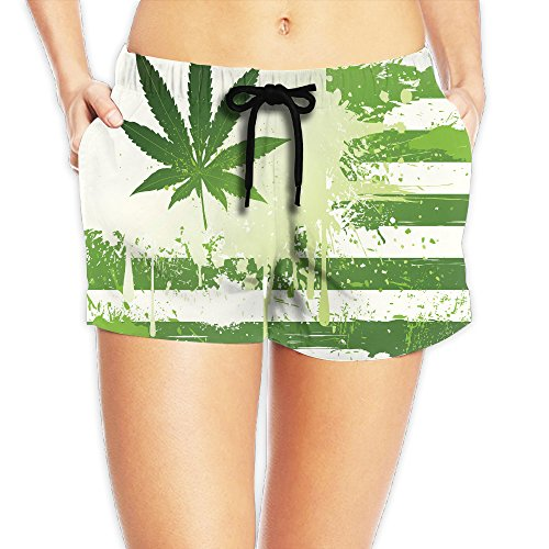 Women's Green Cannabis Leaf Flag Comfortable Stylish Summer Casual Beach Shorts Small