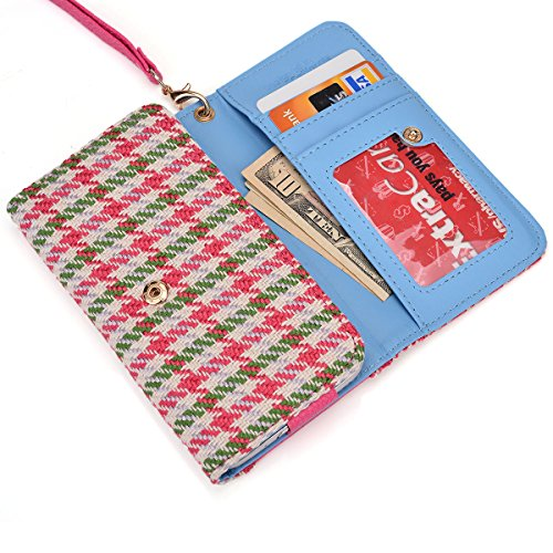 Wallet phone holder- accented coin zipper- Retro Houndstooth plaid pattern- Universal fit for Archos 50c Oxygen