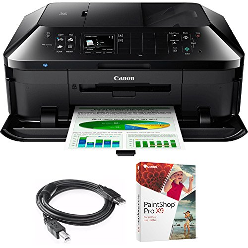 Canon PIXMA MX922 Wireless Inkjet Office All-In-One Printer (6992B002) with High Speed 6-foot USB Printer Cable & Corel Paint Shop Pro (Duplex Digital Panel 1 Jet)