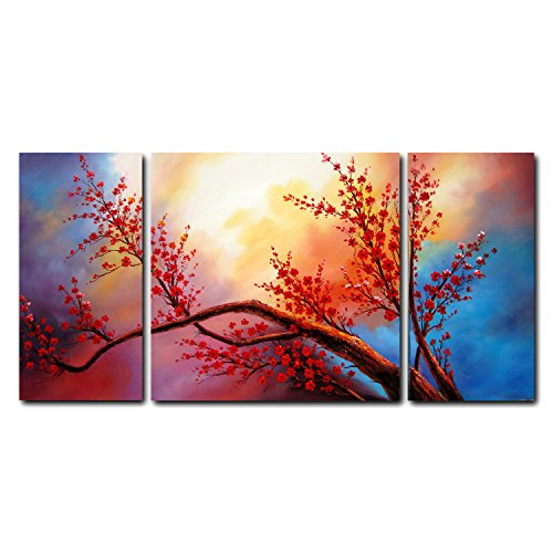 FLY SPRAY 3 Panels Hand Painted Oil Paintings Red Flowers Trees Plants On Canvas Ready To Hang Modern Still Life Landscape Art Stretched Framed Wall Art Home Living Room Bedroom Dining Room Office