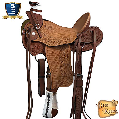 15″ Western Horse Saddle Leather Wade Ranch Roping Dark Brown Hilason