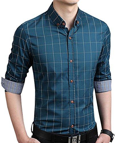 Ytd men 39 s 100 cotton long sleeve plaid slim fit button for Mens 100 cotton button down shirts