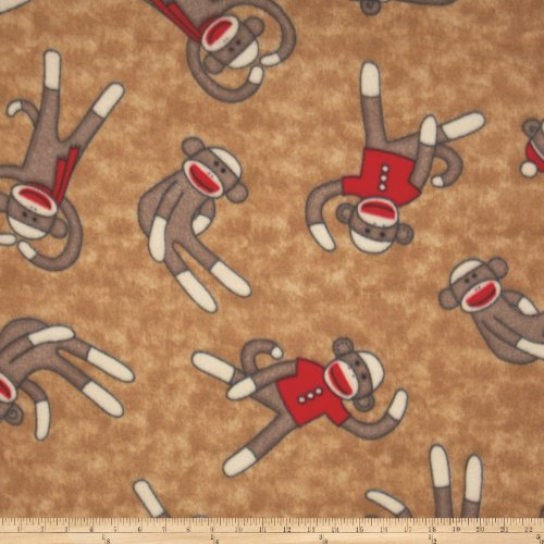 Winter Fleece Socky Tan Fabric By The Yard (Monkey Fleece Fabric)