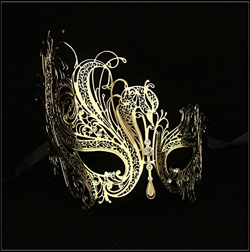 Luxury Mask Women's Swan Metal Filigree Laser Cut Venetian Masquerade Mask, Gold/Clear Stones, One Size