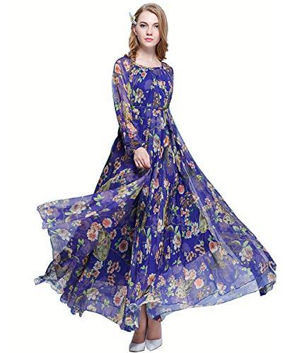 Medeshe Women's Summer Floral Long Beach Maxi Dress Lightweight Sundress (Blue Owl Long Sleeve, Medium)