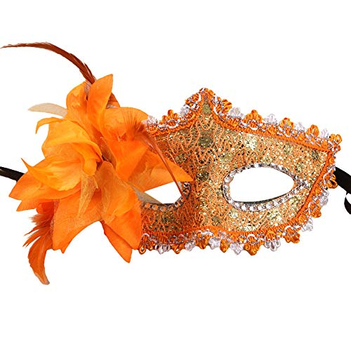 Kariwell Sexy Women Black Lace Eye Face Mask Rhinestone Sequins Masquerade Party Ball Prom Costume Charms Mask (Orange) -