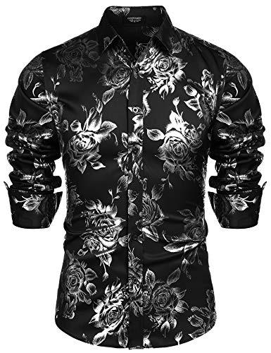 (COOFANDY Men Fashion Hip Hop Luxury Design Flower Print Dress Prom Disco)