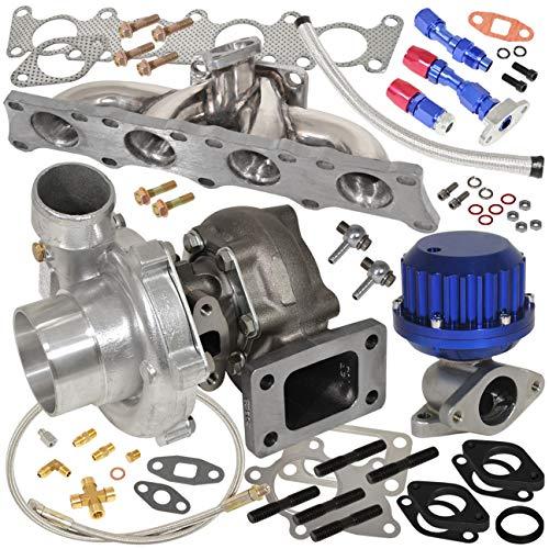 AJP Distributors Stainless Steel Manifold + T3/T4 Oil Cooled .50Ar Compressor .63Ar Turbine Turbo Charger + Vertical Ribbed Wastegate + Oil Line Kit Blue For Audi Volkswagen Vag 1.8T