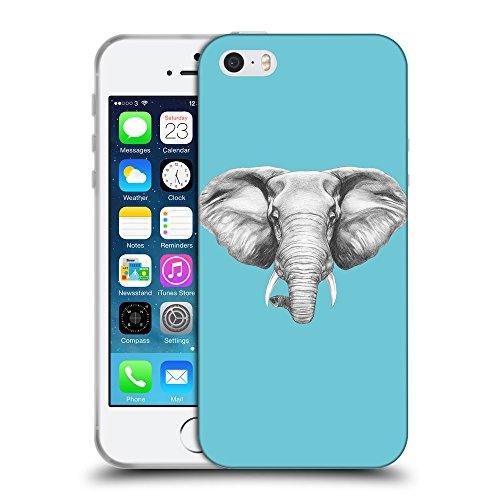 GoGoMobile Coque de Protection TPU Silicone Case pour // Q05130627 Dessin éléphant Cyan // Apple iPhone 5 5S 5G SE