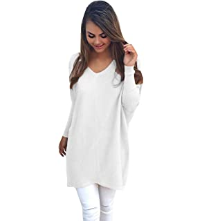 Womens Long Knitted Jumpers For Women Ladies Sweater Knitwear Knit V Neck Long Sleeve Longline Jumper