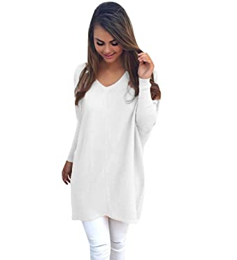 1264f99040 Womens Long Knitted Jumpers For Women Ladies Sweater Knitwear Knit V Neck  Long Sleeve Longline Jumper Dress Casual Sweaters Warm Loose Jumpers Autumn  ...