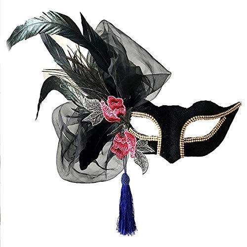 極地急行する軽減Nanle Halloween Ornate Blackコロンビーナフェザーマスク