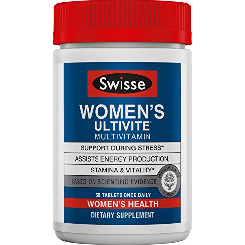 Swisse Women's Premium Ultivite Multivitamin - Energy Support, Stress Support, Antioxidant & Mineral Rich Daily Vitamin for Women (50 Tablets)