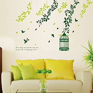 Amazon.com: Green Leaves Vines Birdcage Bird English Letters Wall ...