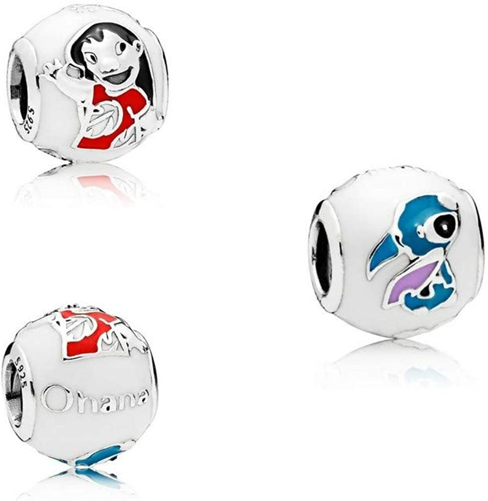 Womens Disney Lilo & Stitch Charm S925 Sterling Silver Fits Pandora  European Bracelets Compatible By Gooce