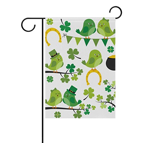 Vantaso Outdoor Garden Flag St Patrick Day Funny Birds Dressed as Leprechaun Singing on Green Trees Polyester Double Sided Printing Fade Mildew Proof for Courtyards Garden Decorative 12x18 inch