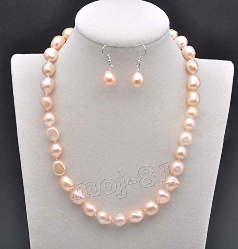 REAL NATURAL 9-10MM SOUTH SEA PINK BAROQUE PEARL NECKLACE EARRING SET - Pink Pearl Earrings 10mm