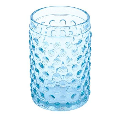 Creative Home 85318 Transparent Blue Dot Glass Tumbler, Toothbrush Holder Bath Set, Sky Blue by Creative Home