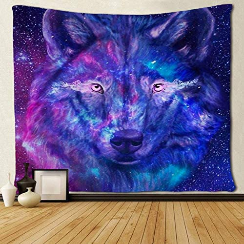 SARA NELL Wall Tapestry Galaxy Wolf Tapestries Hippie Art Wall Hanging Throw Tablecloth 60X90 Inches for Bedroom Living Room Dorm Room