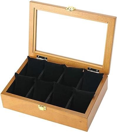 Retro Caja de Relojes,madera Caja de Relojes Estuche para Relojes y Joyeros con 8 Compartimentos,con Cubierta de Vidrio,para Caja de Regalo de Almacenamiento de Reloj para Mujer y Hombre,Wood: Amazon.es: Hogar