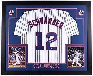 Kyle Schwarber Autographed Signed 35x43 Custom Framed Chicago Cubs Jersey Beckett Witnessed Hologram & Coa Card