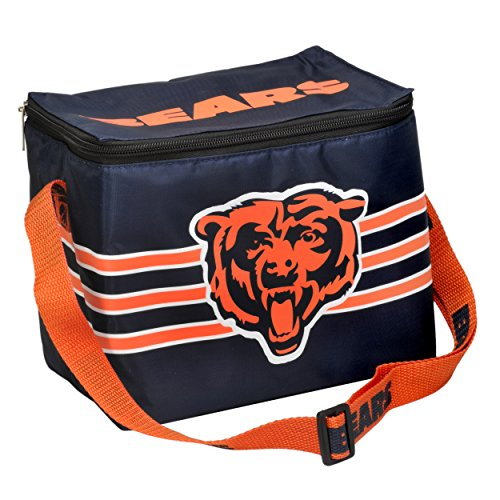 NFL Retro Lunch Bag: 6 Pack Zipper Cooler (Chicago Bears) (Chicago Bears Lunch Box compare prices)
