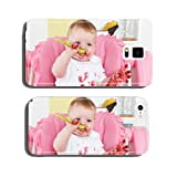 Naughty baby eating alone in the high chair cell phone cover case iPhone5