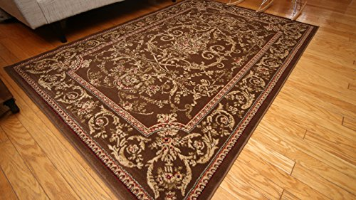 Feraghan/New City fer4033brown_8x11 Traditional Isfahan Floral Persian Wool Area Rug, 8' x 10', Chocolate Brown ()