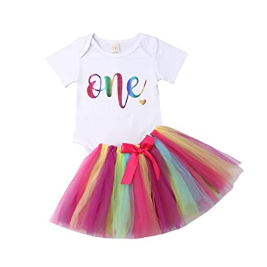 77ad7e7c2075 3PCS Unicorn Outfit Newborn Baby Girls 1st Birthday Romper + Tutu Skirt  Dress + Headband Clothing