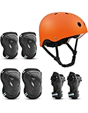 Skateboard Helmet for Adult/Kids, with Knee Pads Elbow Pads Wrist Guards Protective Gear Set for Skateboard, Bike, Rollerblade, Bicycle, Cycling, Roller Skate, Scooter