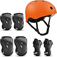 Skateboard Helmet for Adult/Kids, with Knee Pads Elbow Pads Wrist Guards Protective Gear Set for Skateboard, B