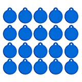 20pcs Blank Pet ID Tags DIY Dog Tags Round Shape Double Sided Dog Cat Puppy Kitty Identification Name Phone Number ID Tag - Blue