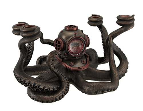 Resin Candelabras Incredibly Cool Steampunk Diver Octopus 4 Candle Candelabra 11.5 X 6.5 X 9.5 Inches Black Model # WU76578A4 by Zeckos