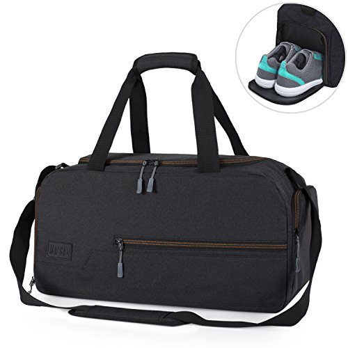 MarsBro Water Resistant Sports Gym Travel Weekender Duffel Bag with Shoe Compartment Black from MarsBro