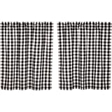 VHC Brands Classic Country Farmhouse Kitchen Window Curtains-Annie Buffalo Check White Lined Tier Pair, L36 x W36, Black