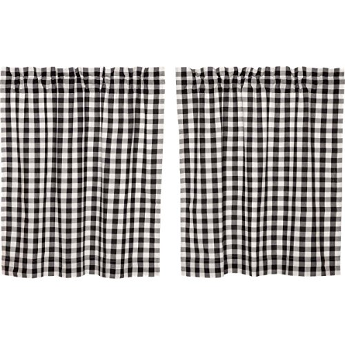 Black Gingham Curtains - VHC Brands Classic Country Farmhouse Kitchen Window Curtains - Annie Buffalo Check White Lined Tier Pair, L36 x W36, Black