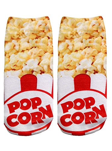Popcorn Photo Print Ankle Socks (Popcorn Print)