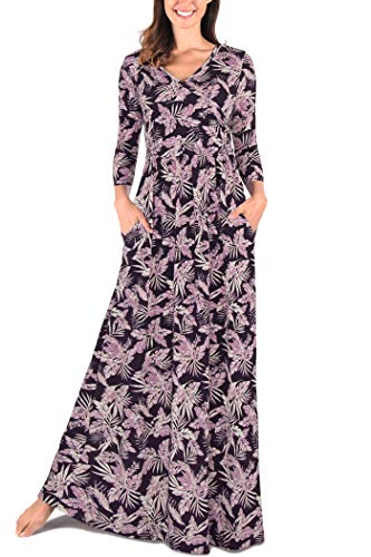 Comila Women's 3/4 Sleeves Floral Print Casual Loose Wrap V Neck Long Maxi Dress Classic Pregnancy Nursing Crossover V Breastfeeding Maternity Dress Plus Size Purple XXL US(18/20)
