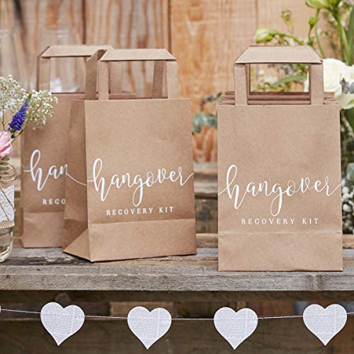 Ginger Ray Natural Kraft Hangover Cure Recovery Kit Bags - 5 Pack - Rustic Country