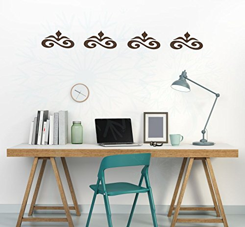 Set of 4 Scrolls Vinyl Decals Wall Stickers for Simple Home