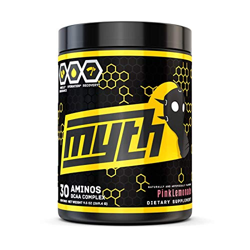 Myth BCAA Powder - 7g BCAAs Amino Acids - Branched Chain Aminos for Intra and Post Workout with Leucine, Valine, Citrulline Malate - Pink Lemonade, 30 Servings