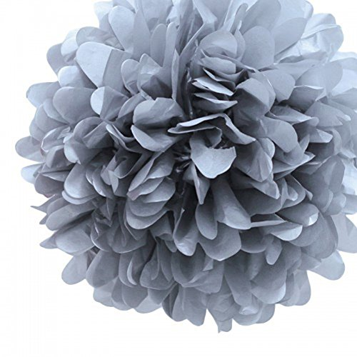 S-shine Set of 6 Tissue Paper Pom-poms Flower Ball Wedding Party Outdoor Decoration Tissue Paper Flowers Kit Pom Poms Craft (10 inch, Silver Grey)