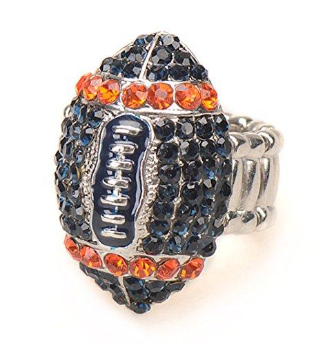 Die Hard Fan Costume (Denver Fan Jewelry Blue and Orange Rhinestone Football Women's Girl's Stretch Fit Fashion Bling Ring)
