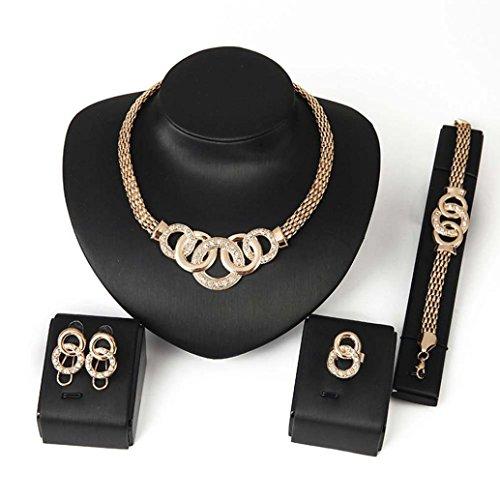 DDLBiz Rhinestone Necklace Bracelet Earrings