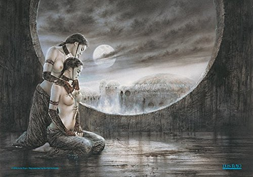 Luis Royo Two Girls Moonlight large fabric poster / flag 44